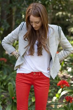 neutral jacket with bright pants