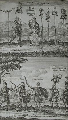 Illustrations from Basil Kennet's Romae Antiquae Notitia or The Antiquities of Rome original edition printed in 1699  - Plate 1