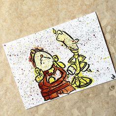 Lumiere and Clogsworth on a 5x7 card in watercolor #disney #disneyart #disneyartshare #disneyartfeatures #disneyfanart #disneyfanartshare #beautyandthebeast #lumiere #clogsworth #art #watercolor #painting