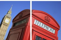 London Telephone Booth 2 Piece Framed Photographic Print Set
