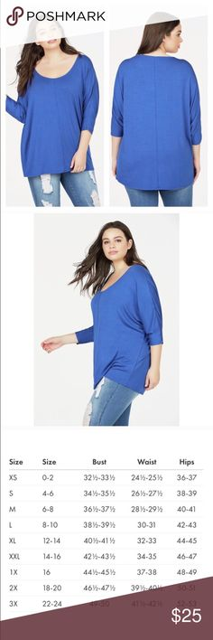 """NWT Dolman Tee in Blue Plus Size 1X Keep it casual and cool in this loose dolman tee. It's the perfect layering piece for spring and fall. Length: 24"""" Fabric Type: 96% Rayon, 4% Spandex Fabric Care Type: Machine wash cold with like colors. Do not bleach. Tumble dry low. Iron medium, if necessary exclusive of trim. If decorated or printed, do not iron. Imported JustFab Tops"""