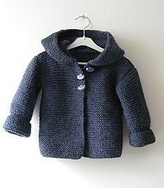 free garter stitch hooded baby cardigan