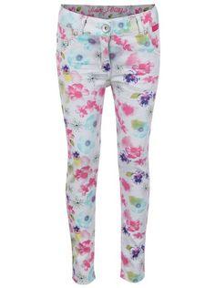 Šedé holčičí kalhoty s květinovým vzorem Bóboli
