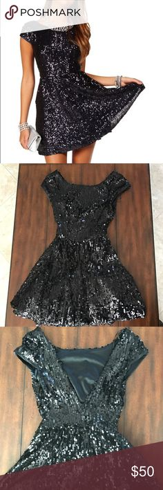 Windsor black puffy sequin dress Absolutely great condition ! Also great for the holidays ! Only worn 1 time ..No damage to the dress . Skater style with a little puff under for extra volume. Bought from Windsor WINDSOR Dresses Mini
