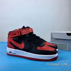 "factory price 35e2f 1cd7a Nike Air Force 1 Mid ""Bred"" Black Gym Red-White New Release"