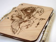 wooden sketchbook engraved wood notepad for drawings sketchbook ecological notepad girl eagle jou Wooden Gifts, Boho, Drawings, Unique Jewelry, Handmade Gifts, Vintage, Etsy, Wood, Kid Craft Gifts