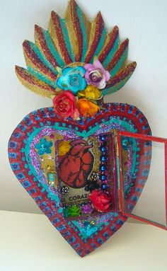 Mexican sacred heart tin nicho with El Corazon by TheVirginRose