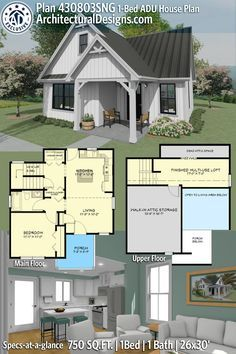 Guest House Plans, Small House Floor Plans, Cottage House Plans, Cottage Homes, 1 Bedroom House Plans, Guest Cottage Plans, Cool House Plans, Small Farmhouse Plans, House Plan With Loft