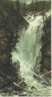 Great capture of a rushing waterfall. Either he's got him a bird flying through the spray... or I got a little schmutz  on my computer screen, grin. Artist is Homer Dodge Martin (1836-1897).