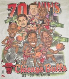Vintage 90's NBA CHICAGO BULLS Caricature Cartoon Michael Jordan T-Shirt