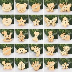 50/100 Cute Wood Wooden Buttons Beads Scrapbook Craft Sewing Embellishments #Unbranded