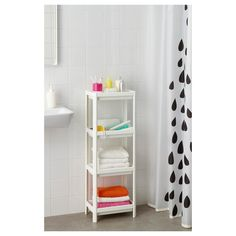 IKEA - VESKEN, Shelf unit, white, Assemble the shelf unit quickly and easily without any tools by clicking the parts together. Perfect in a small bathroom. Bathroom Storage Units, Bathroom Niche, Small Bathroom, Corner Shelf Unit, Kallax Shelf Unit, Shelf Units, Petite Console, Mini Bad, Shampoo Bottles