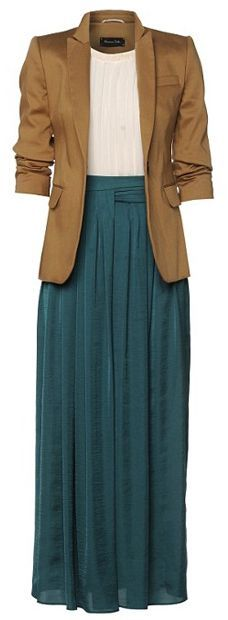 Creative office? No rule against maxi skirts. Get one that has a nice, non-elasitc waistband and pair it with a blazer for a look that's equal parts artsy/Bohemian and professional