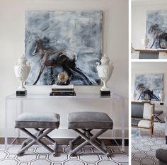 contemporary living room vignette glass console equine art
