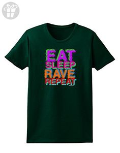 TooLoud Eat Sleep Rave Repeat Color Womens Dark T-Shirt - Forest Green - 2XL (*Amazon Partner-Link)