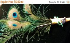 Year End Sale Peacock Feather PenSpell by CherylsGoodStuff on Etsy