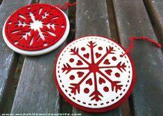 Repurposing round felt ornaments into holiday coasters