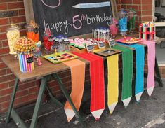 Back 2 School Dessert table crayon runner Abc Party, Festa Party, School Birthday, Art Birthday, Birthday Parties, Back To School Party, School Parties, Kunst Party, Alphabet Party