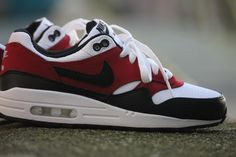 Nike Air Max 1 GS WHITE/BLACK-GYM RED - 555766-117