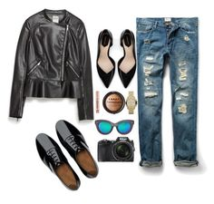 """""""outfin leather"""" by indira-guzman on Polyvore featuring FitFlop, Zara, MANGO, Nikon, Michael Kors, LORAC and Urban Decay"""