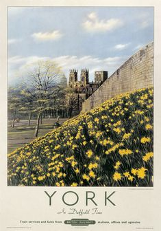 Poster produced for British Railways (BR) to promote rail travel to York. The poster shows a picturesque view of York Framed Print Framed, Poster, Canvas Prints, Puzzles, Photo Gifts and Wall Art Posters Uk, Railway Posters, Vintage Travel Posters, Poster Prints, Train Posters, Art Print, Party Vintage, Vintage Ski, Travel Ads