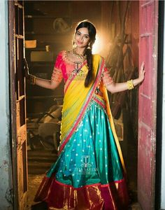 Teja sarees is a one Stop Store for everyone who loves Designer Outfits. Teja sarees recently launched their new beautiful wedding lehenga collection for all the brides. Half Saree Designs, Lehenga Designs, Saree Blouse Designs, Half Saree Lehenga, Lehnga Dress, Bridal Lehenga, Anarkali, Sharara, Gown Dress