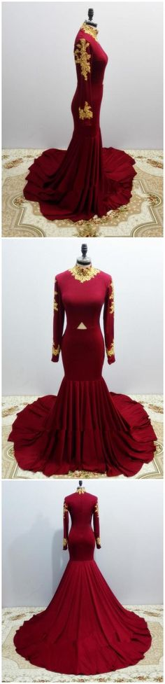 Real Photos Graceful Long Sleeve Burgundy Prom Dresses 2017 New High Neckline Mermaid Stretch Spandex Prom Dress With Gold Lace