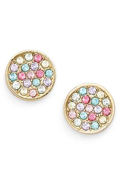 Encrusted with vivid and bright multicolored crystals, these dainty disc earrings add just the right amount of shine to any look.