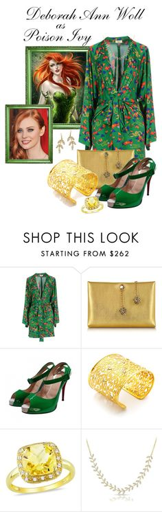 """""""Poison Ivy"""" by darksyngr ❤ liked on Polyvore featuring WOLL, Issa, Roberto Cavalli, Christian Louboutin, Amrapali, Ice and Anne Sisteron"""