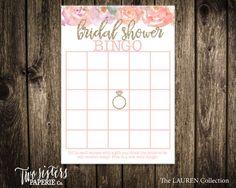 Bridal Shower Bingo - Lauren Collection - Floral Bingo -  Printable File