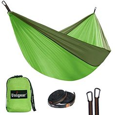Unigear Double Camping Hammock, Portable Parachute Nylon Hammock with Tree Straps for Backpacking, Camping, Hiking, Travel, Beach and Yard (Fruit Green/Army Green, 320cm200cm) - hammock hammocks tent camping portable with stand for sale indoor double carry gear backpacking straps beach blue sky parachute bed best stands tree free standing toy rope outdoor and 2 person hammock two folding chair jungle hamock travel cheap brazilian canopy sunbrella bedrooms two yard skeete...