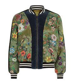 Snake Print Bomber Jacket, Green - $3377