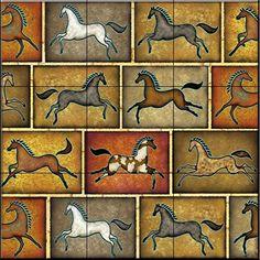 Southwest Horse 8 by Dan Morris - Kitchen Backsplash / Bathroom wall Tile Mural Southwest Decor, Southwestern Decorating, Equestrian Decor, Painted Pony, Tile Projects, Horse Drawings, Tile Murals, Equine Art, Decorative Tile