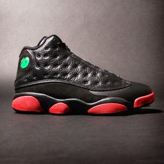 """""""Pure Classics! Air Jordan 13 Black/Gym Red By Jesse James on 12 December,2014, stupiddope.com The good folks over at the Jordan Brand are back! Today they return and unleashing the Air Jordan 13 in... Jordan 13 Black, Shoes 2014, Jesse James, Air Jordans, Sneakers Nike, December 2014, Pure Products, Classic, Red"""