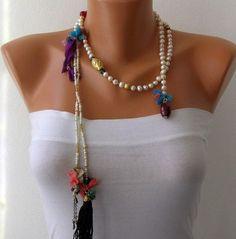 Ivory Pearl Lariat Tassel Wrap Necklace Tassel por mislady