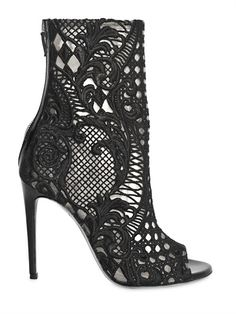 BALMAIN - 110MM GUIPURE LACE OPEN TOE BOOTS - LUISAVIAROMA - LUXURY SHOPPING WORLDWIDE SHIPPING - FLORENCE