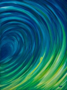 Blue wave painting Original abstract wave painting by StudioKWN