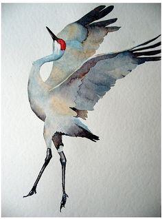 Watercolor Sandhill Crane by Robin
