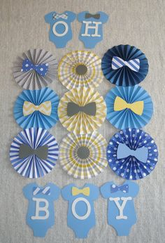 Baby Shower Decor, 11 pc Paper Rosettes for Baby Shower, Nursery Decor, Onesie… Baby Shower Decorations For Boys, Boy Baby Shower Themes, Baby Shower Centerpieces, Baby Boy Shower, Birthday Decorations, Bow Tie Theme, Theme Bapteme, Little Man Shower, Fiesta Baby Shower