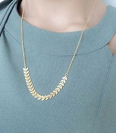 Geometric Necklace  Everyday Gold Necklace  Turquoise by Elamese