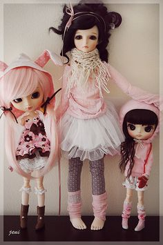 Comparison of three cuties: Pullip, BJD, Dal