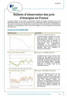 Bulletin d'observation des prix de l'énergie en France