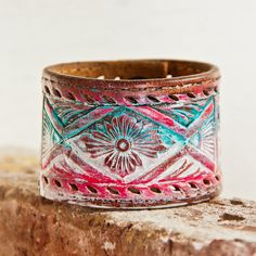 Western Belt Bracelet Cuff Tooled Leather Jewelry by rainwheel Leather Cuffs, Leather Tooling, Leather Jewelry, Tooled Leather, Western Belts, Western Jewelry, Turquoise Accessories, Jewelry Accessories, Jewelry Ideas
