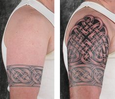 Here an arch of knotwork above the previously tattooed celtic band completes an upper half sleeve Celtic Sleeve Tattoos, Celtic Tattoos For Men, Half Sleeve Tribal Tattoos, Band Tattoos For Men, Full Sleeve Tattoo Design, Half Sleeve Tattoos Designs, Sleeve Tattoos For Women, Tattoos For Guys, Tattoo Designs