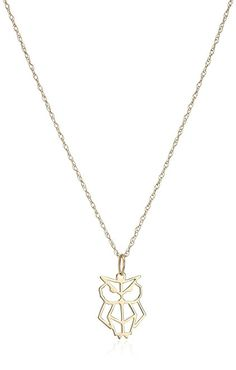 """Amazon.com: 14k Yellow Gold OrigaMe Cutout Owl Pendant Necklace, 16""""+2"""" Extender: Jewelry"""