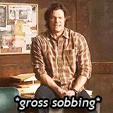 SPNG Tags: Sam / Gross sobbing / bleating moose  Looking for a particular Supernatural reaction gif? This blog organizes them so you don't have to spend hours hunting them down.