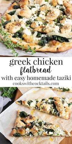Nov 2019 - This Greek flatbread appetizer has the flavors of spanikopita & chicken souvlaki mixed together and then its topped with the BEST homemade tzatziki. A delicious appetizer! Flatbread Appetizers, Flatbread Pizza Recipes, Chicken Flatbread, Focaccia Pizza, Flatbread Toppings, Chicken Pizza, Make Ahead Appetizers, Appetizer Recipes, Greek Appetizers