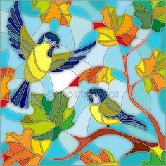 Скачать - Иллюстрация в стиле витражи на тему осени, две синицы в небо и клен листья — стоковая иллюстрация #119801386
