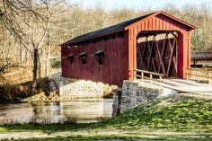 Cataract Falls Covered Bridge in the State Recreation Area, Owen County, Indiana