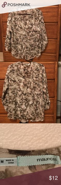 Maurice's sheer button down 3/4 sleeve Blouse Beautiful fall colors. Soft and flowing fabric. Great for office or leggings with a soft Camille's under. Maurices Tops Blouses